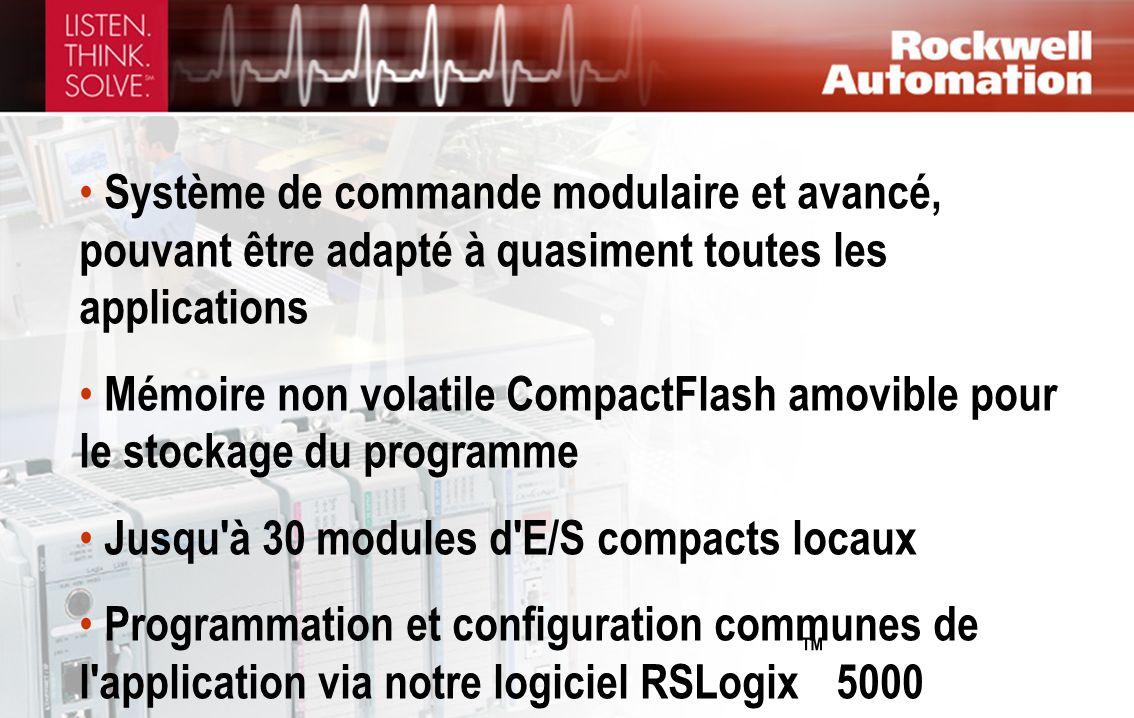 Système de commande modulaire et avancé, pouvant être adapté à quasiment toutes les applications Mémoire non volatile CompactFlash amovible pour le st