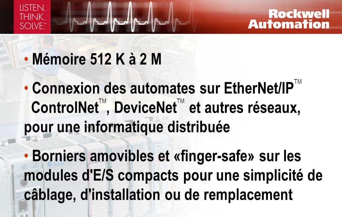 Mémoire 512 K à 2 M Connexion des automates sur EtherNet/IP TM ControlNet TM, DeviceNet TM et autres réseaux, pour une informatique distribuée Bornier