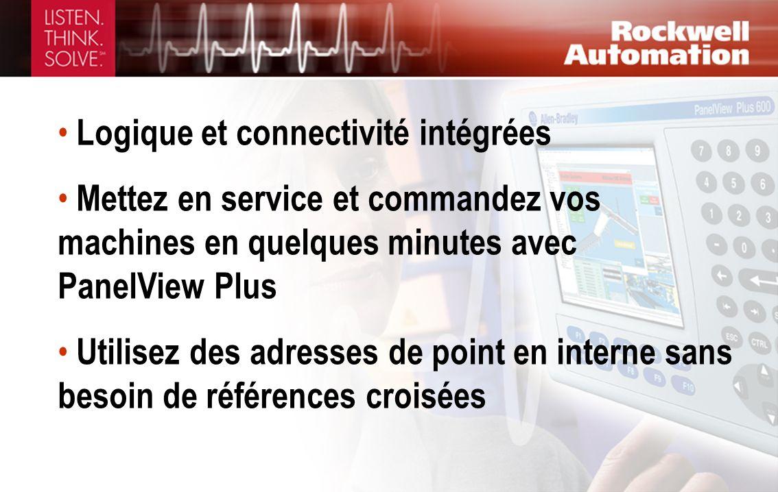 Logique et connectivité intégrées Mettez en service et commandez vos machines en quelques minutes avec PanelView Plus Utilisez des adresses de point e