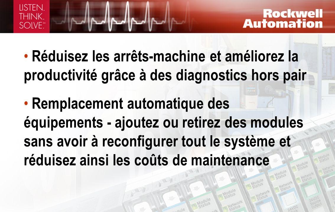 Réduisez les arrêts-machine et améliorez la productivité grâce à des diagnostics hors pair Remplacement automatique des équipements - ajoutez ou retir