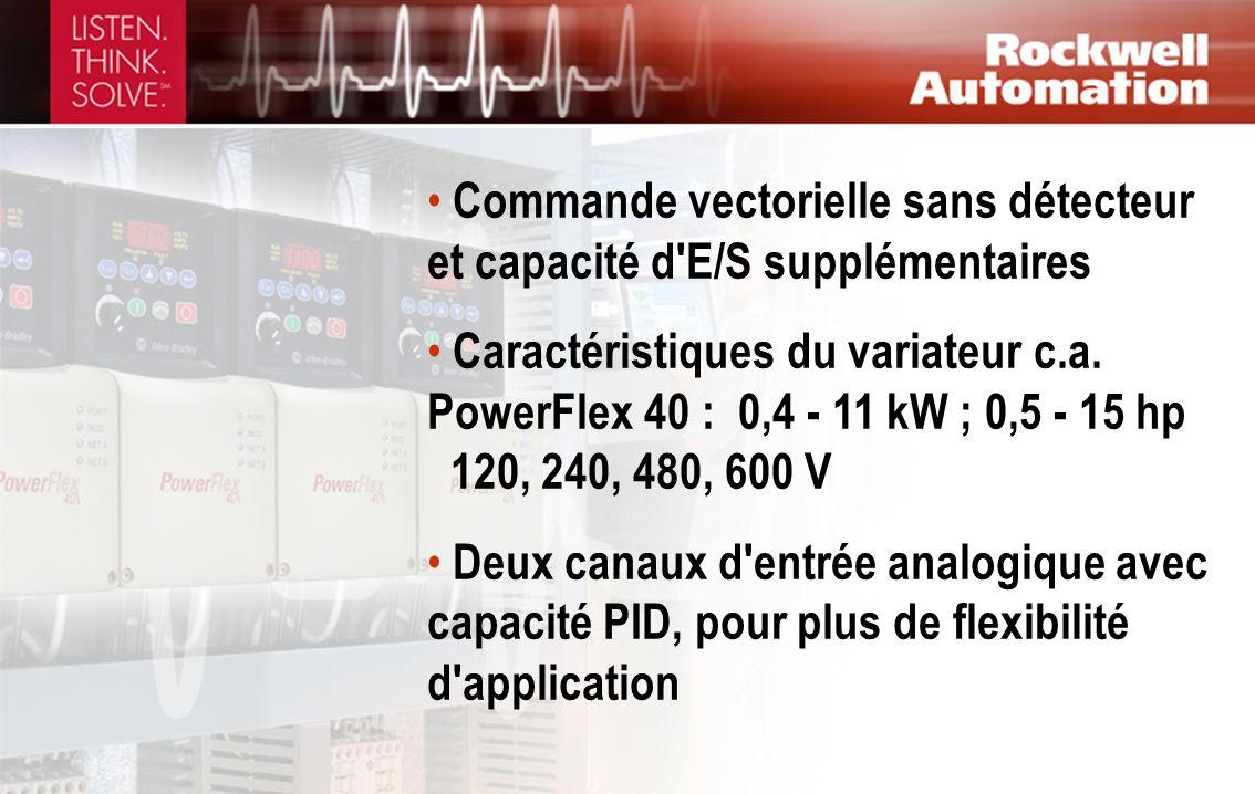 Commande vectorielle sans détecteur et capacité d'E/S supplémentaires Caractéristiques du variateur c.a. PowerFlex 40 : 0,4 - 11 kW ; 0,5 - 15 hp 120,