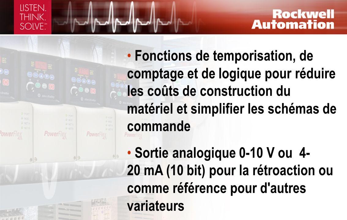 Fonctions de temporisation, de comptage et de logique pour réduire les coûts de construction du matériel et simplifier les schémas de commande Sortie