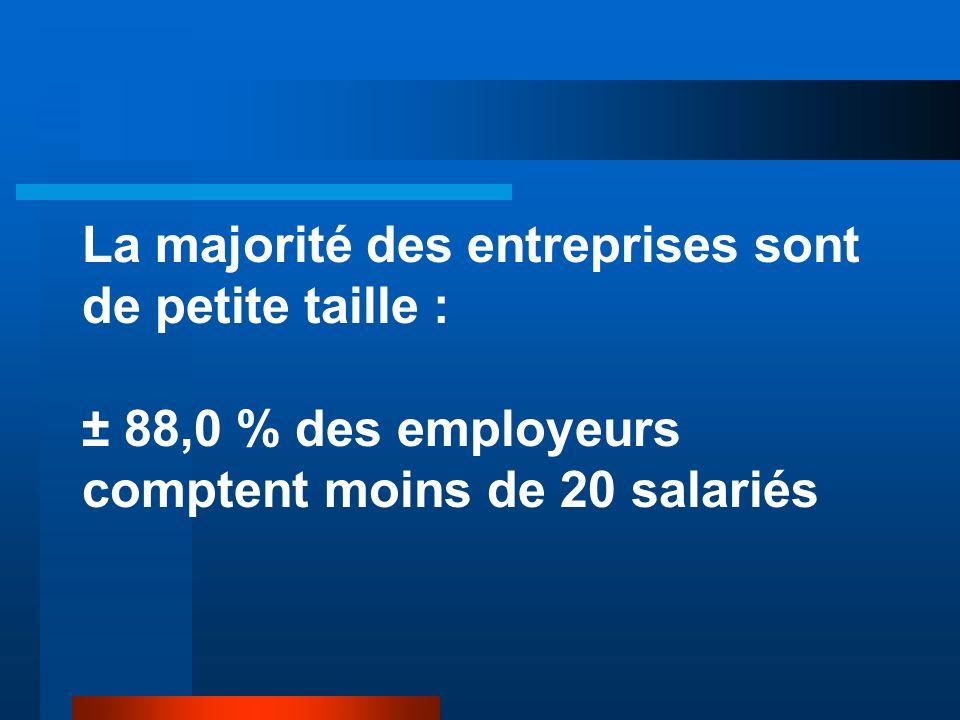 La majorité des entreprises sont de petite taille : ± 88,0 % des employeurs comptent moins de 20 salariés