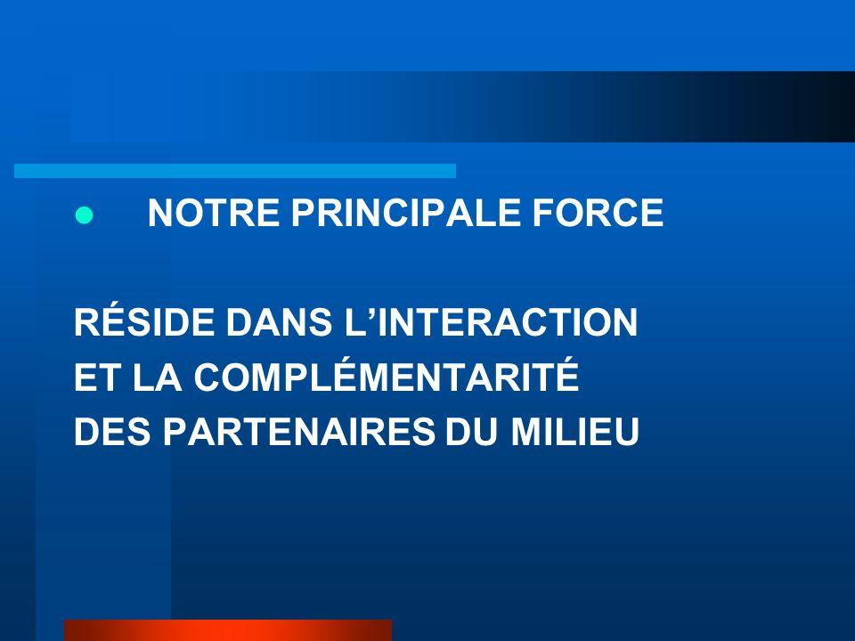 NOTRE PRINCIPALE FORCE RÉSIDE DANS LINTERACTION ET LA COMPLÉMENTARITÉ DES PARTENAIRES DU MILIEU
