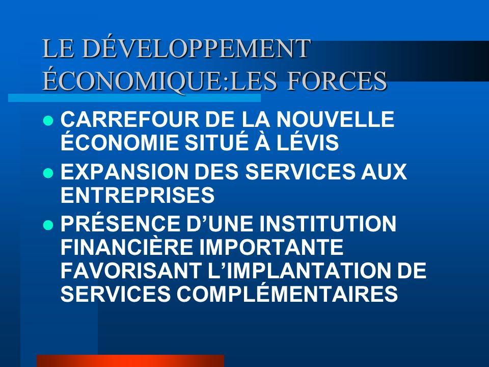 LE DÉVELOPPEMENT ÉCONOMIQUE:LES FORCES CARREFOUR DE LA NOUVELLE ÉCONOMIE SITUÉ À LÉVIS EXPANSION DES SERVICES AUX ENTREPRISES PRÉSENCE DUNE INSTITUTION FINANCIÈRE IMPORTANTE FAVORISANT LIMPLANTATION DE SERVICES COMPLÉMENTAIRES
