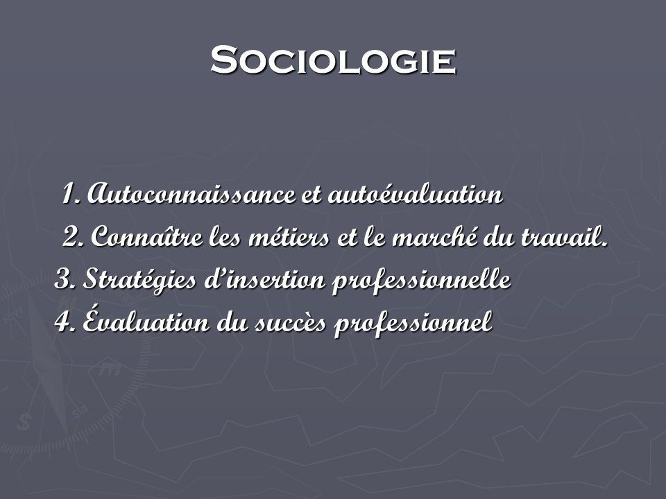 Sociologie 1. Autoconnaissance et autoévaluation 2.