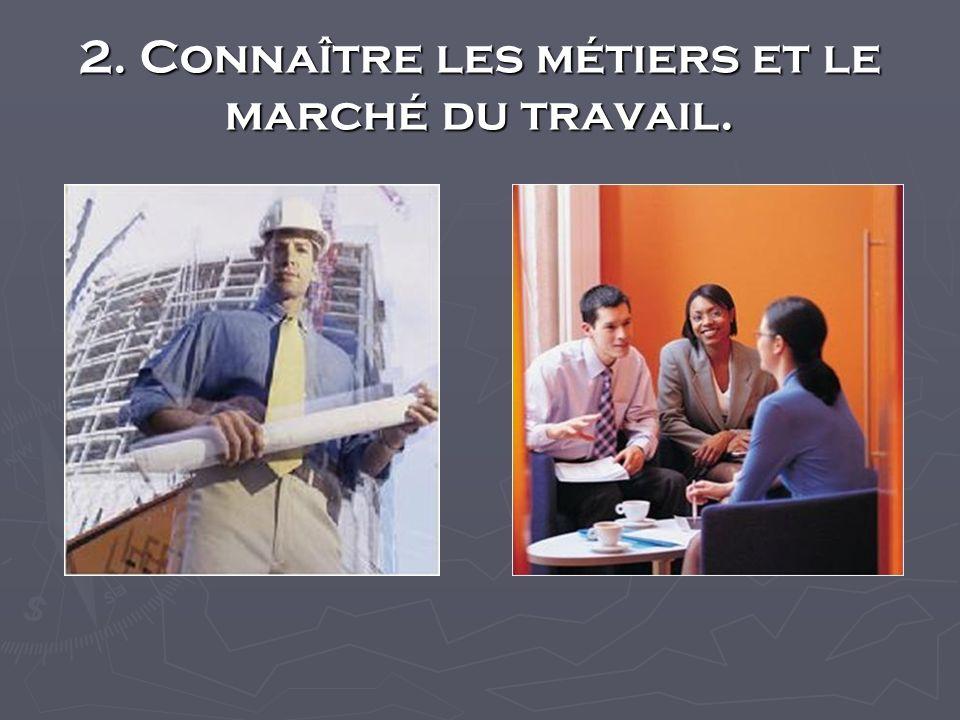 2. Connaître les métiers et le marché du travail.