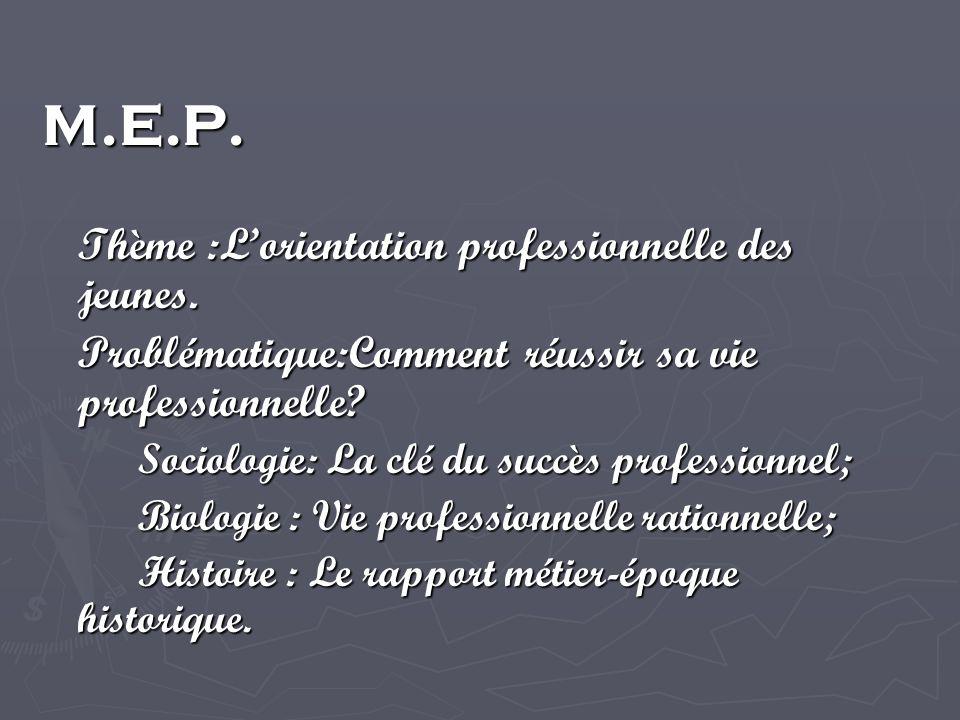M.E.P. Thème :Lorientation professionnelle des jeunes.