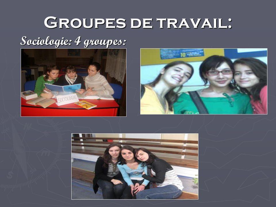 Groupes de travail: Sociologie: 4 groupes: