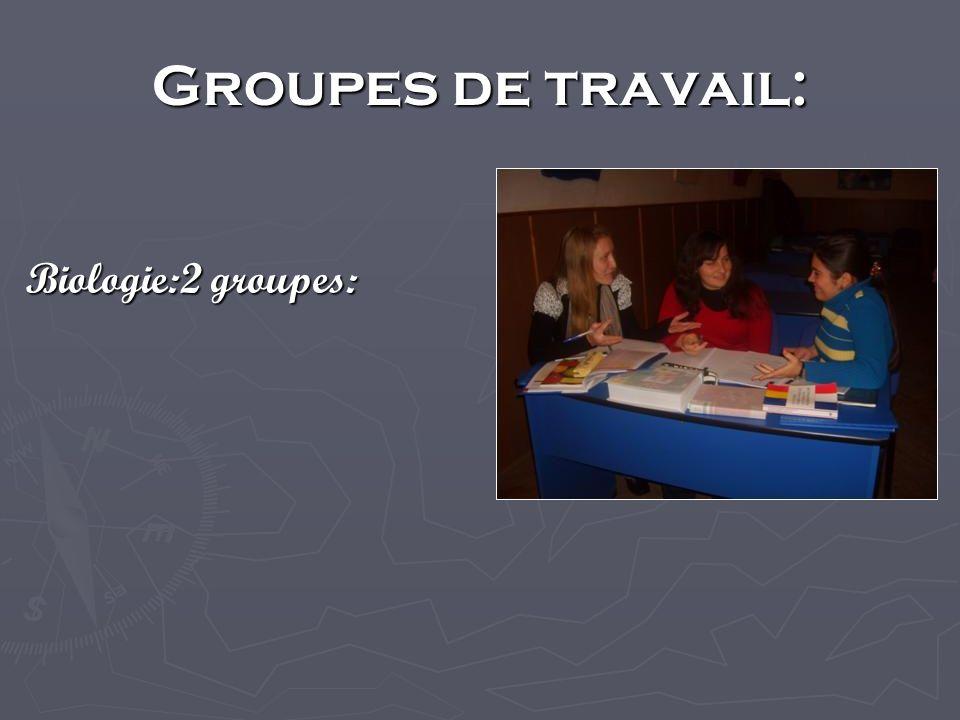 Groupes de travail: Biologie:2 groupes: