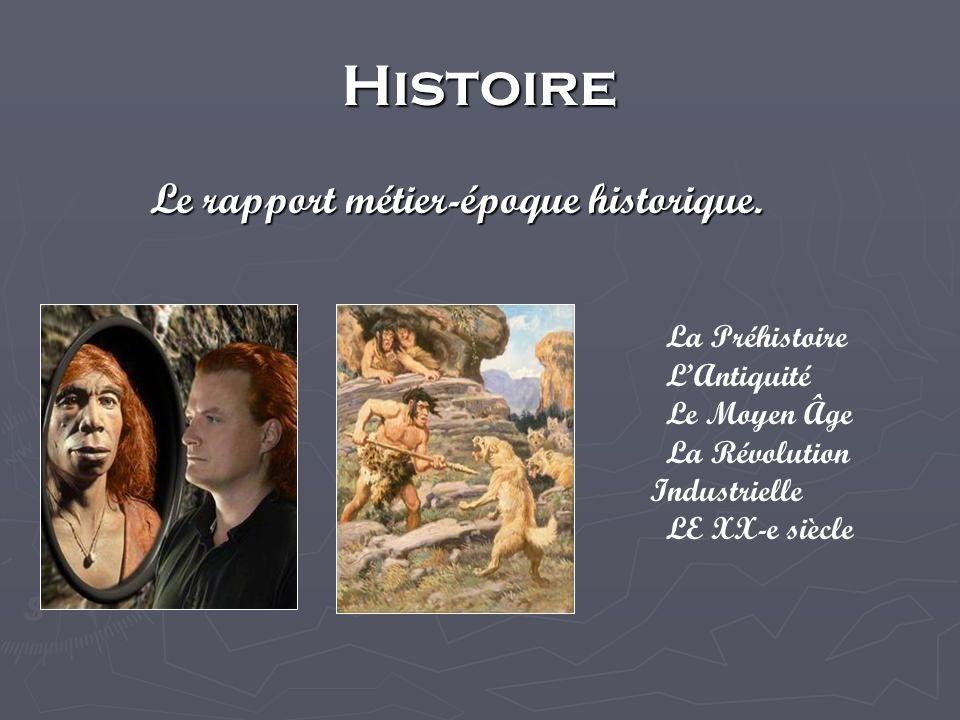 Histoire Le rapport métier-époque historique.