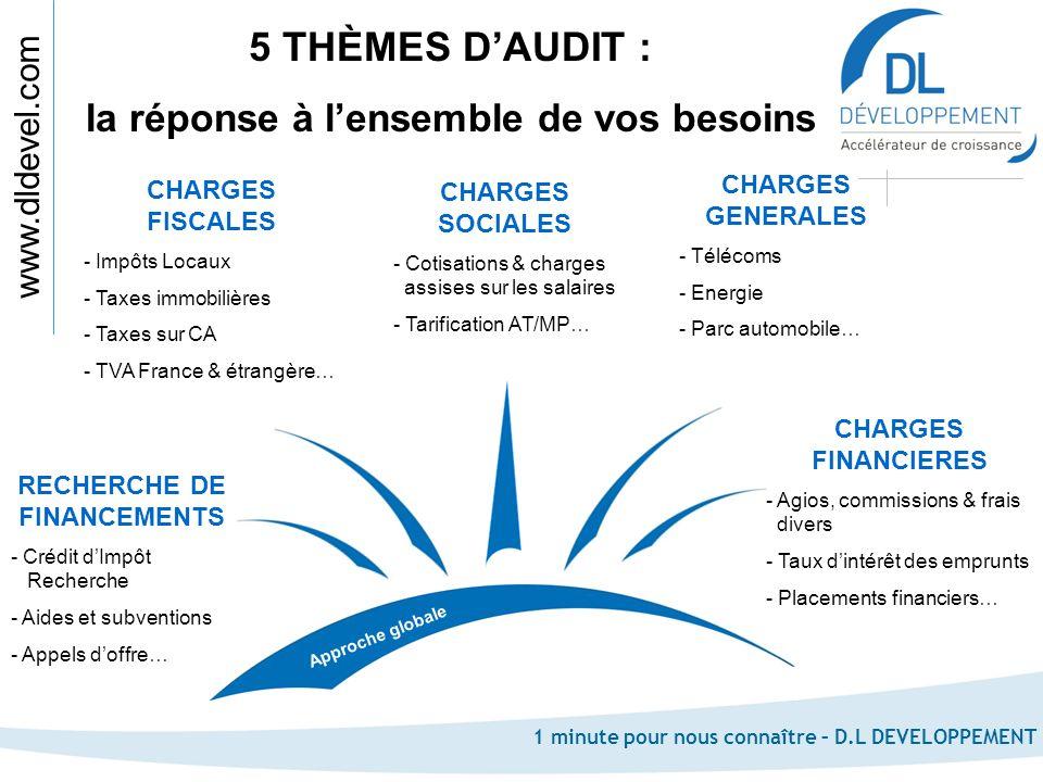 www.dldevel.com 1 minute pour nous connaître – D.L DEVELOPPEMENT CHARGES FISCALES - Impôts Locaux - Taxes immobilières - Taxes sur CA - TVA France & é