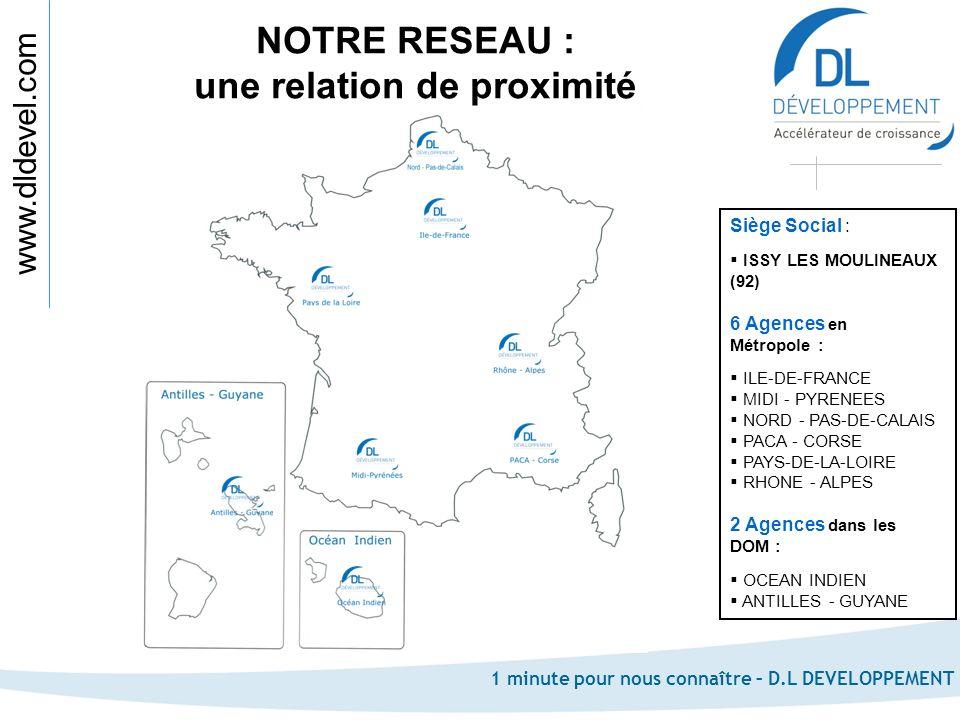 www.dldevel.com 1 minute pour nous connaître – D.L DEVELOPPEMENT Siège Social : ISSY LES MOULINEAUX (92) 6 Agences en Métropole : ILE-DE-FRANCE MIDI -
