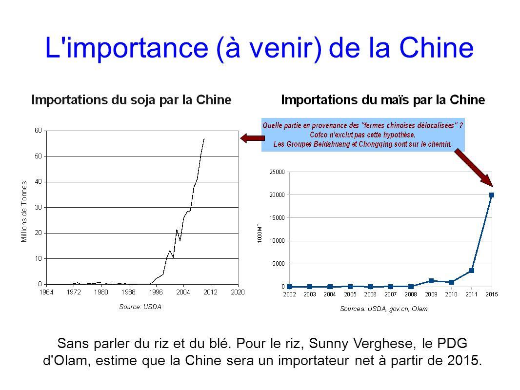 L'importance (à venir) de la Chine Sans parler du riz et du blé. Pour le riz, Sunny Verghese, le PDG d'Olam, estime que la Chine sera un importateur n