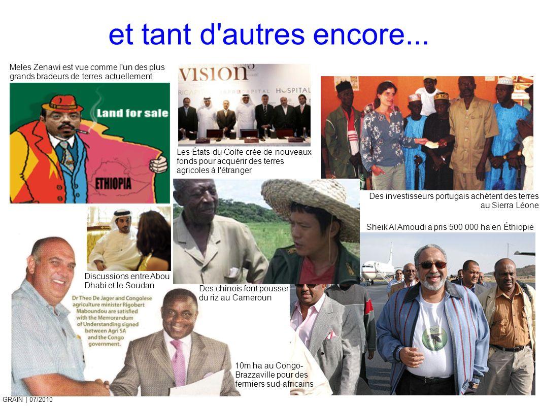 GRAIN 10/2011 GRAIN | 07/2010 et tant d'autres encore... Meles Zenawi est vue comme l'un des plus grands bradeurs de terres actuellement Discussions e