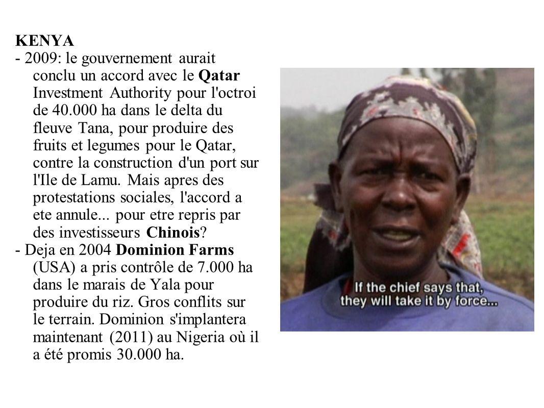 GRAIN 10/2011 KENYA - 2009: le gouvernement aurait conclu un accord avec le Qatar Investment Authority pour l'octroi de 40.000 ha dans le delta du fle