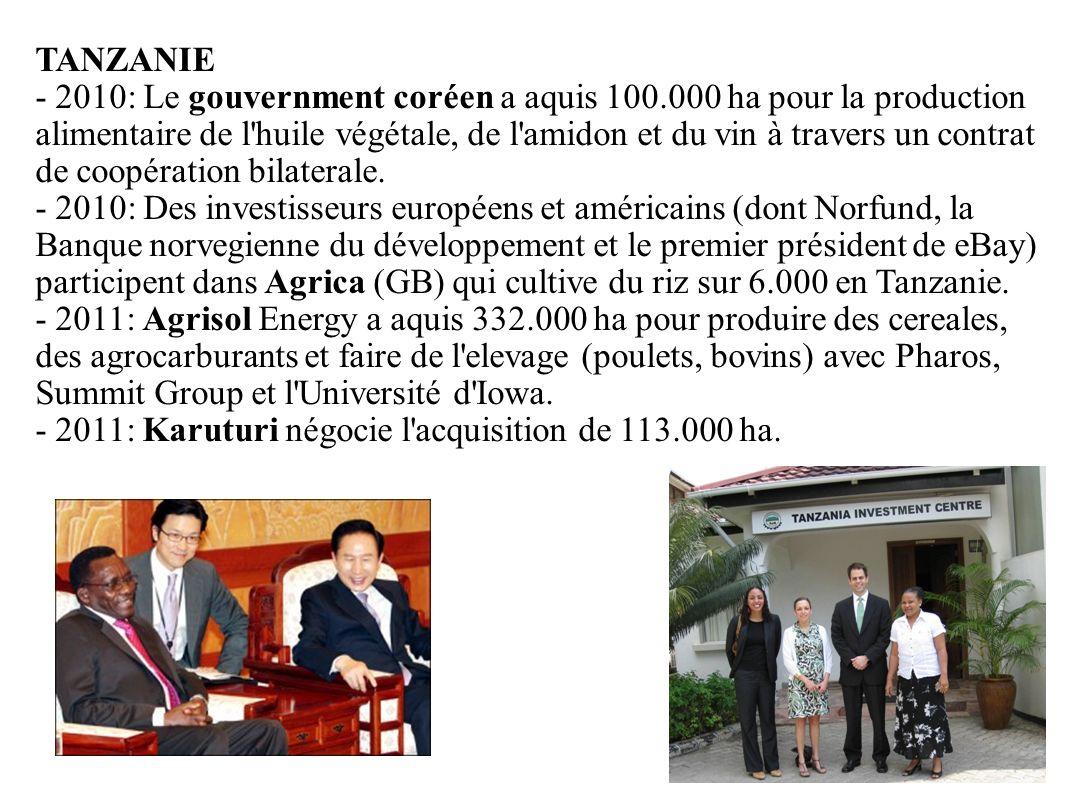 GRAIN 10/2011 TANZANIE - 2010: Le gouvernment coréen a aquis 100.000 ha pour la production alimentaire de l'huile végétale, de l'amidon et du vin à tr