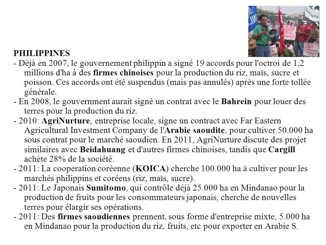 GRAIN 10/2011 PHILIPPINES - Dèjà en 2007, le gouvernement philippin a signé 19 accords pour l'octroi de 1,2 millions d'ha à des firmes chinoises pour