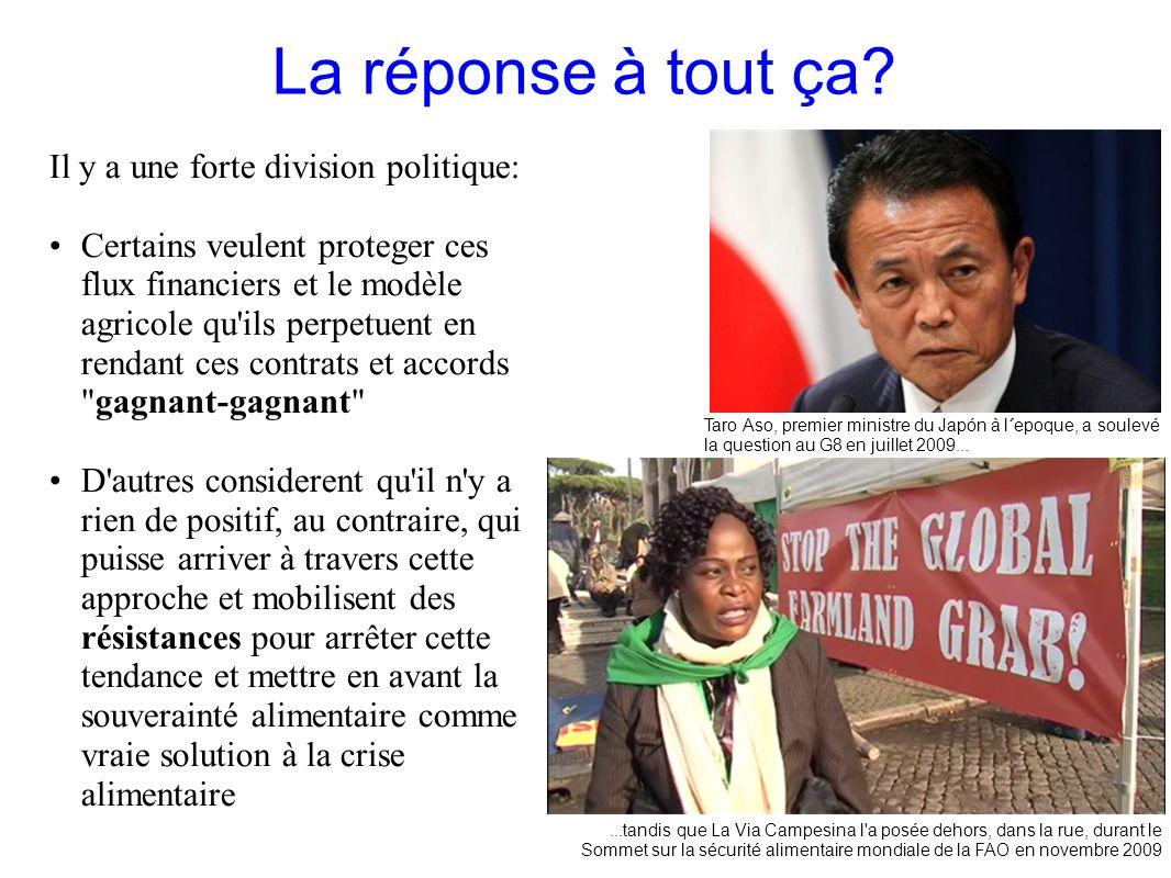 GRAIN 10/2011 La réponse à tout ça? Il y a une forte division politique: Certains veulent proteger ces flux financiers et le modèle agricole qu'ils pe