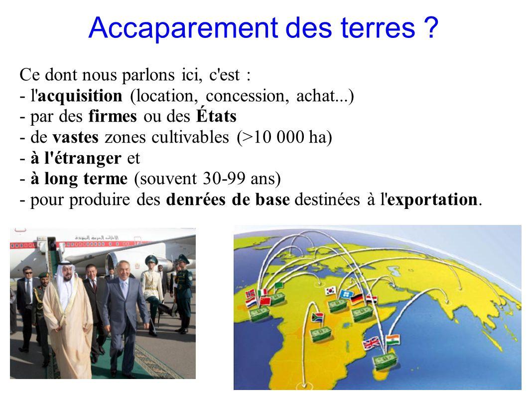 GRAIN 10/2011 Accaparement des terres ? Ce dont nous parlons ici, c'est : - l'acquisition (location, concession, achat...) - par des firmes ou des Éta