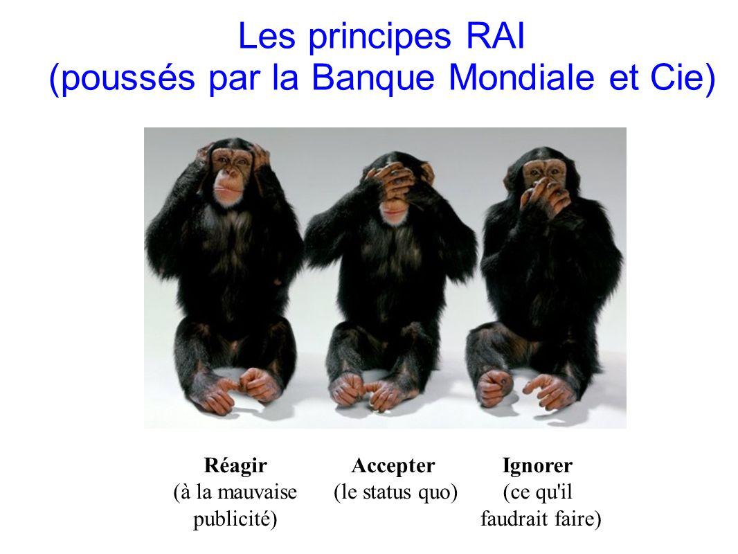 GRAIN 10/2011 Les principes RAI (poussés par la Banque Mondiale et Cie) Accepter (le status quo) Ignorer (ce qu'il faudrait faire) Réagir (à la mauvai
