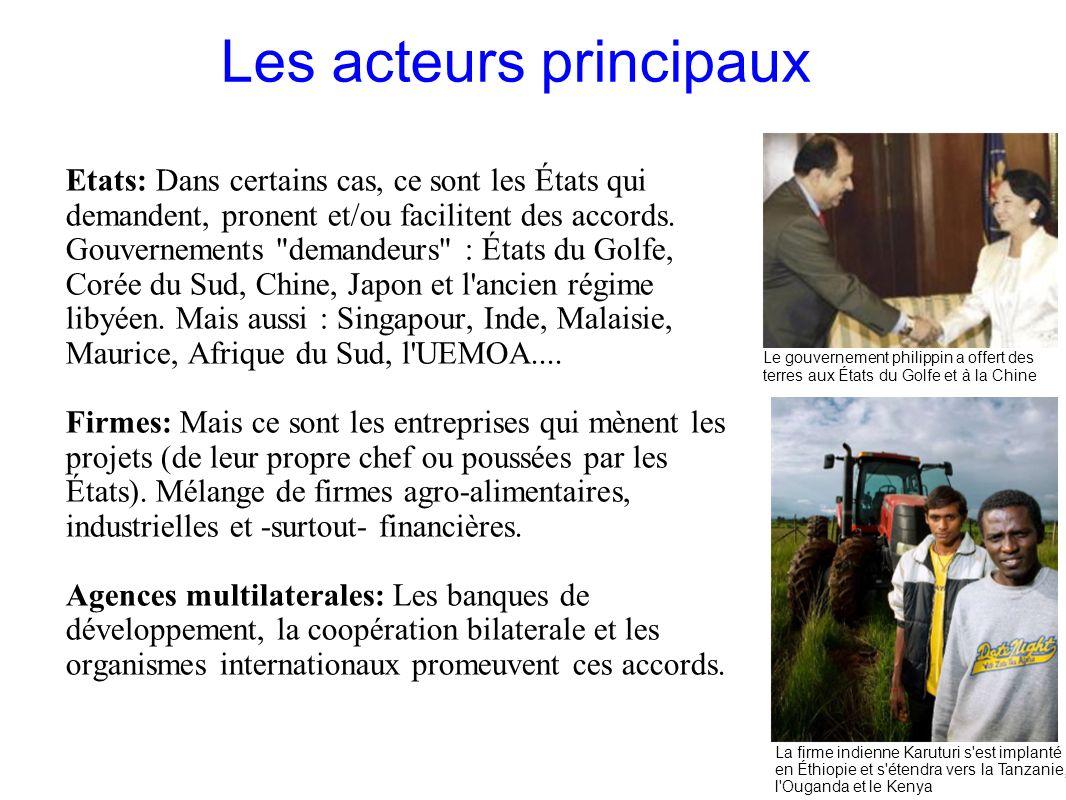 GRAIN 10/2011 Les acteurs principaux Etats: Dans certains cas, ce sont les États qui demandent, pronent et/ou facilitent des accords. Gouvernements