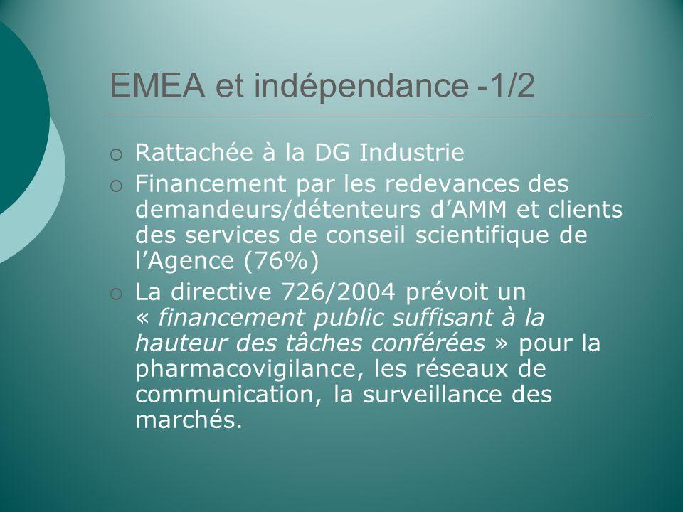 EMEA et indépendance -1/2 Rattachée à la DG Industrie Financement par les redevances des demandeurs/détenteurs dAMM et clients des services de conseil