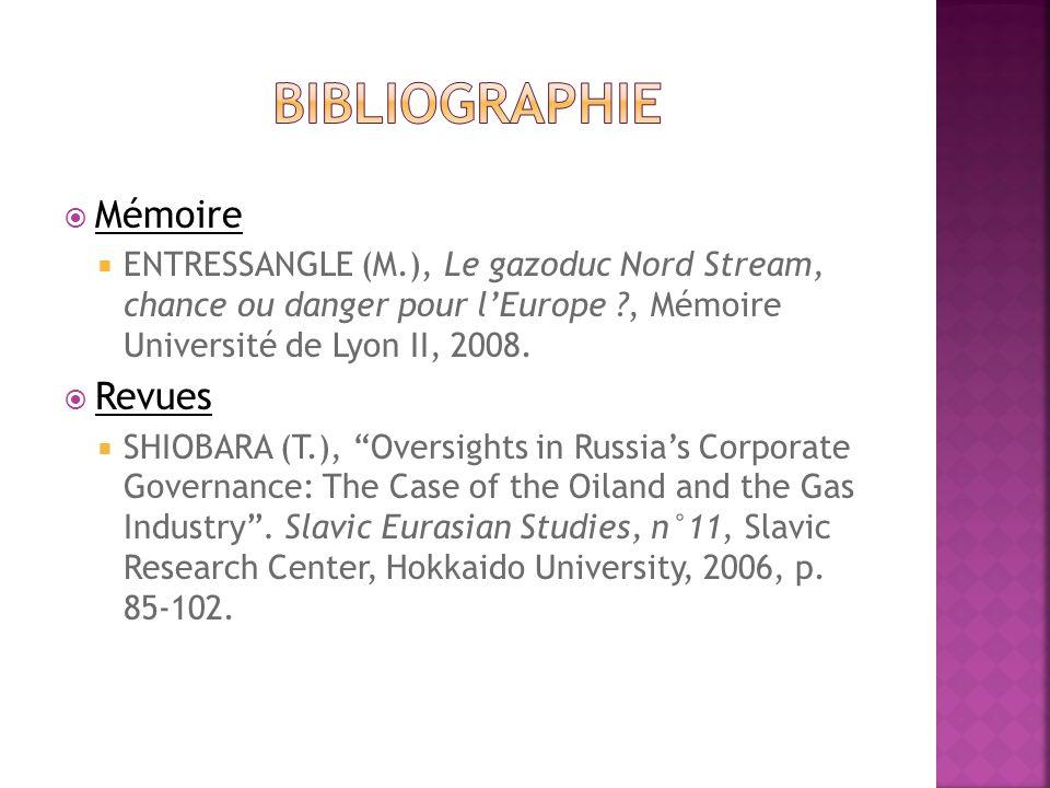 Mémoire ENTRESSANGLE (M.), Le gazoduc Nord Stream, chance ou danger pour lEurope ?, Mémoire Université de Lyon II, 2008. Revues SHIOBARA (T.), Oversig