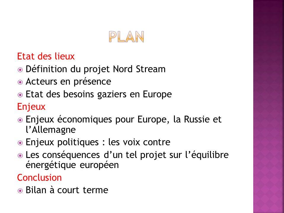 Etat des lieux Définition du projet Nord Stream Acteurs en présence Etat des besoins gaziers en Europe Enjeux Enjeux économiques pour Europe, la Russi