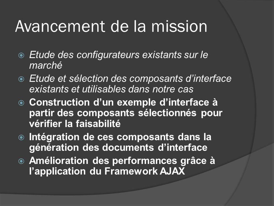 Avancement de la mission Etude des configurateurs existants sur le marché Etude et sélection des composants dinterface existants et utilisables dans n