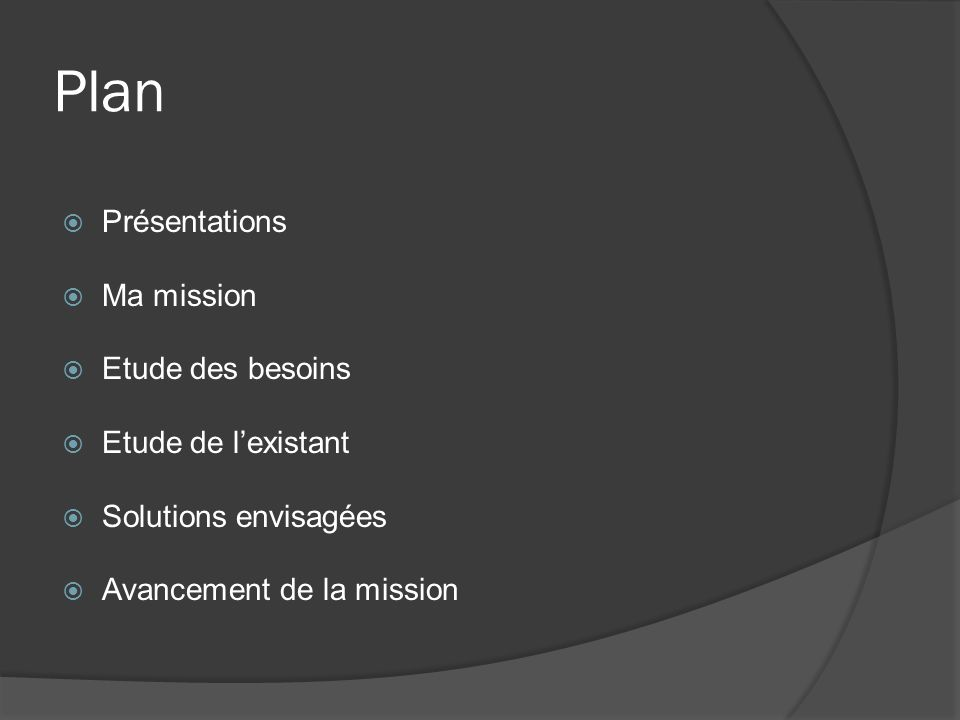 Plan Présentations Ma mission Etude des besoins Etude de lexistant Solutions envisagées Avancement de la mission