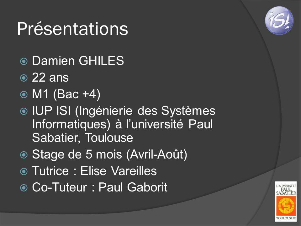 Présentations Damien GHILES 22 ans M1 (Bac +4) IUP ISI (Ingénierie des Systèmes Informatiques) à luniversité Paul Sabatier, Toulouse Stage de 5 mois (