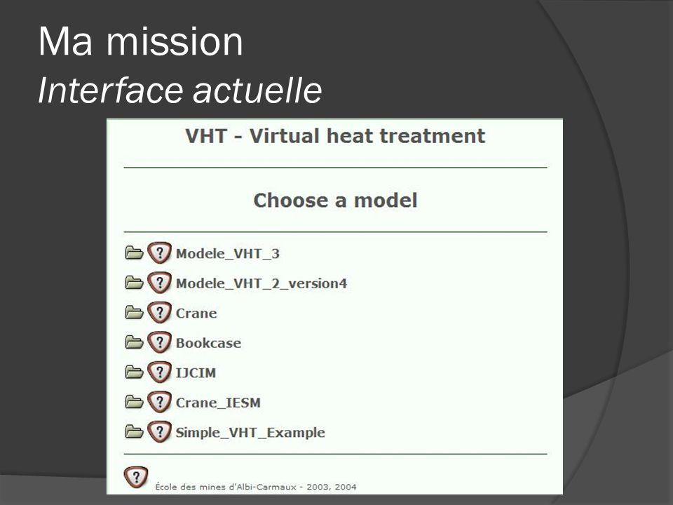 Ma mission Interface actuelle