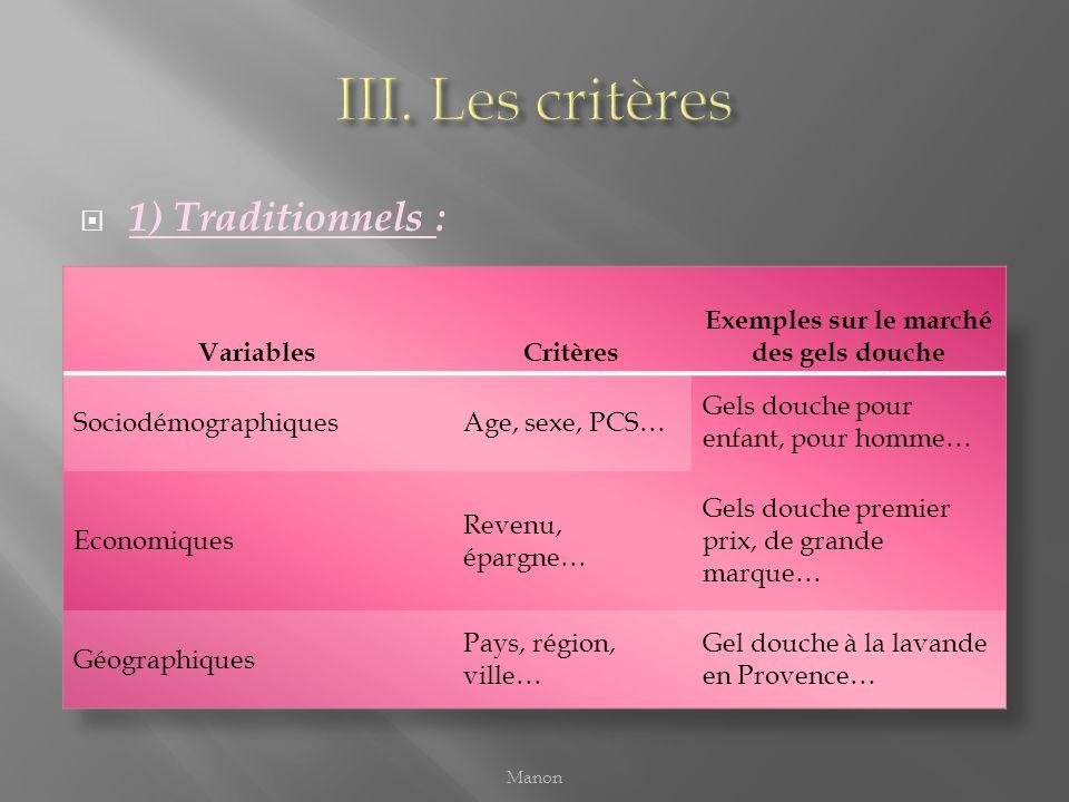 1) Traditionnels : Manon