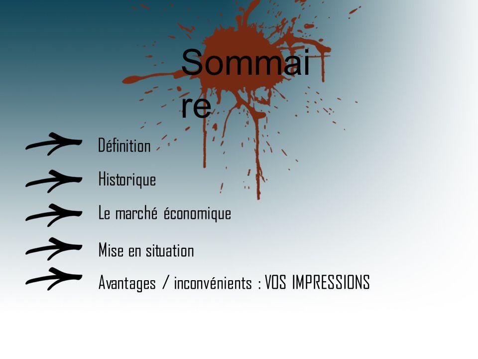 Sommai re Définition Historique Le marché économique Mise en situation Avantages / inconvénients : VOS IMPRESSIONS