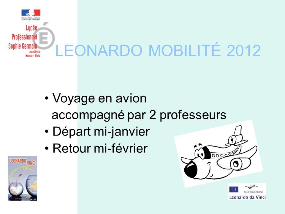 LEONARDO MOBILITÉ 2012 Voyage en avion accompagné par 2 professeurs Départ mi-janvier Retour mi-février