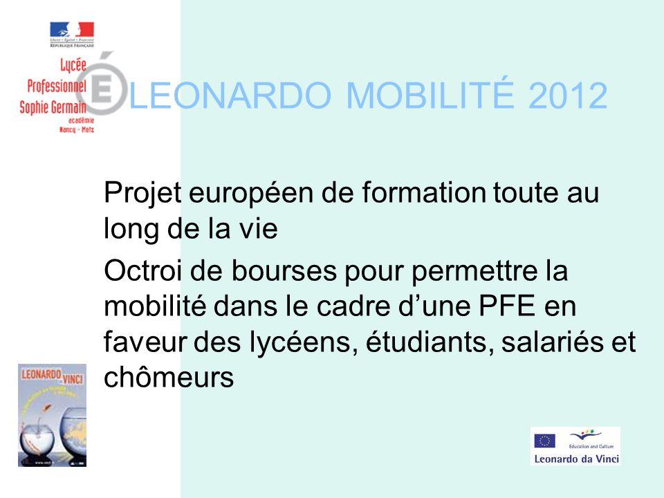 LEONARDO MOBILITÉ 2012 Projet européen de formation toute au long de la vie Octroi de bourses pour permettre la mobilité dans le cadre dune PFE en faveur des lycéens, étudiants, salariés et chômeurs