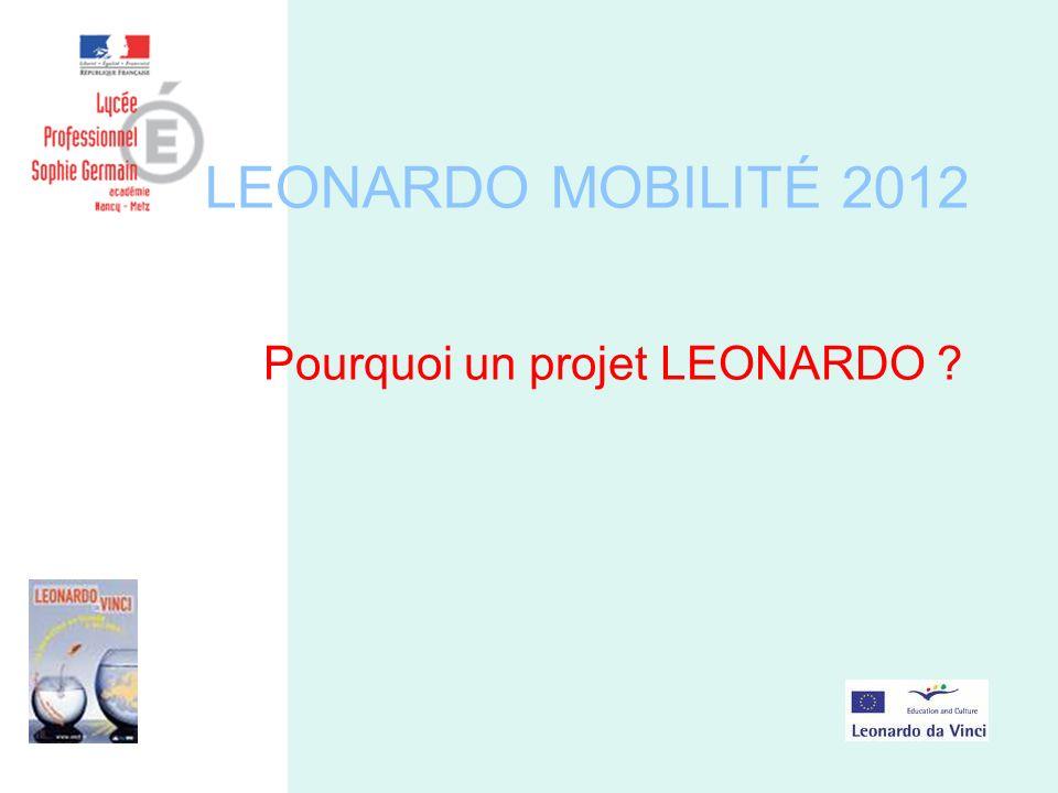 LEONARDO MOBILITÉ 2012 Pourquoi un projet LEONARDO