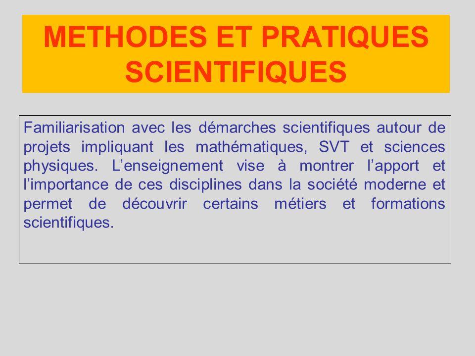 Familiarisation avec les démarches scientifiques autour de projets impliquant les mathématiques, SVT et sciences physiques.