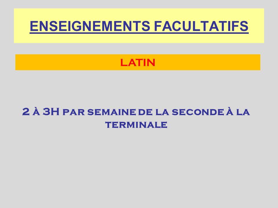 ENSEIGNEMENTS FACULTATIFS 2 à 3H par semaine de la seconde à la terminale LATIN