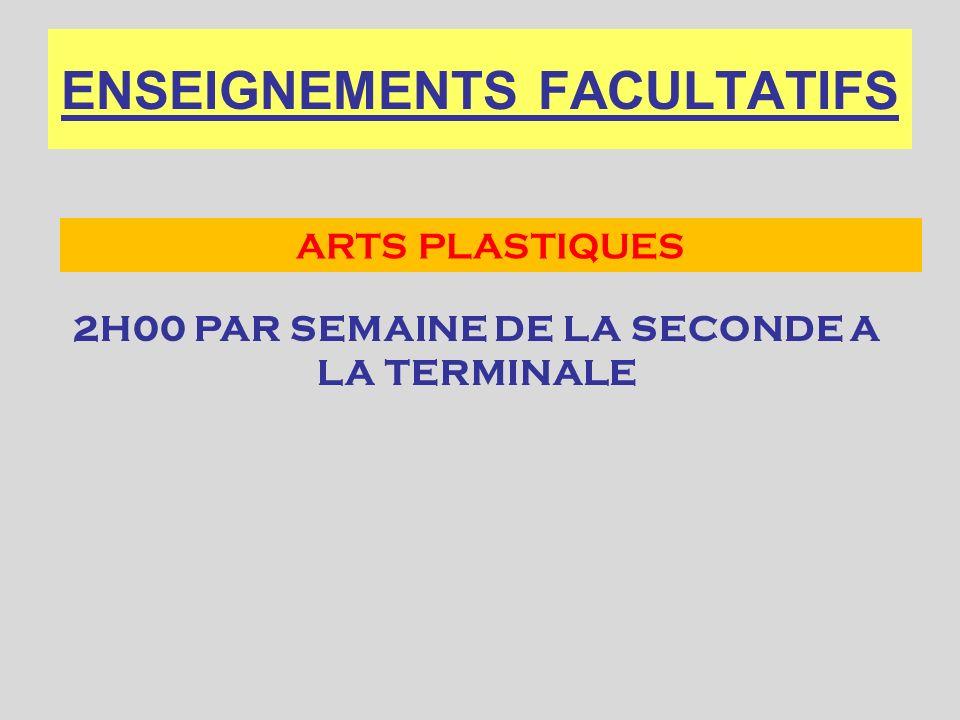 ENSEIGNEMENTS FACULTATIFS 2H00 PAR SEMAINE DE LA SECONDE A LA TERMINALE ARTS PLASTIQUES