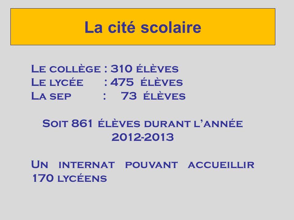 La cité scolaire Le collège : 310 élèves Le lycée : 475 élèves La sep : 73 élèves Soit 861 élèves durant lannée 2012-2013 Un internat pouvant accueillir 170 lycéens