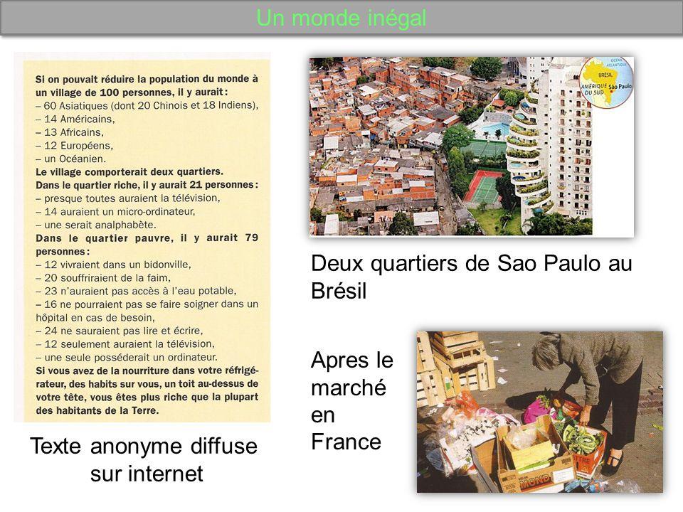 Un monde inégal Texte anonyme diffuse sur internet Deux quartiers de Sao Paulo au Brésil Apres le marché en France
