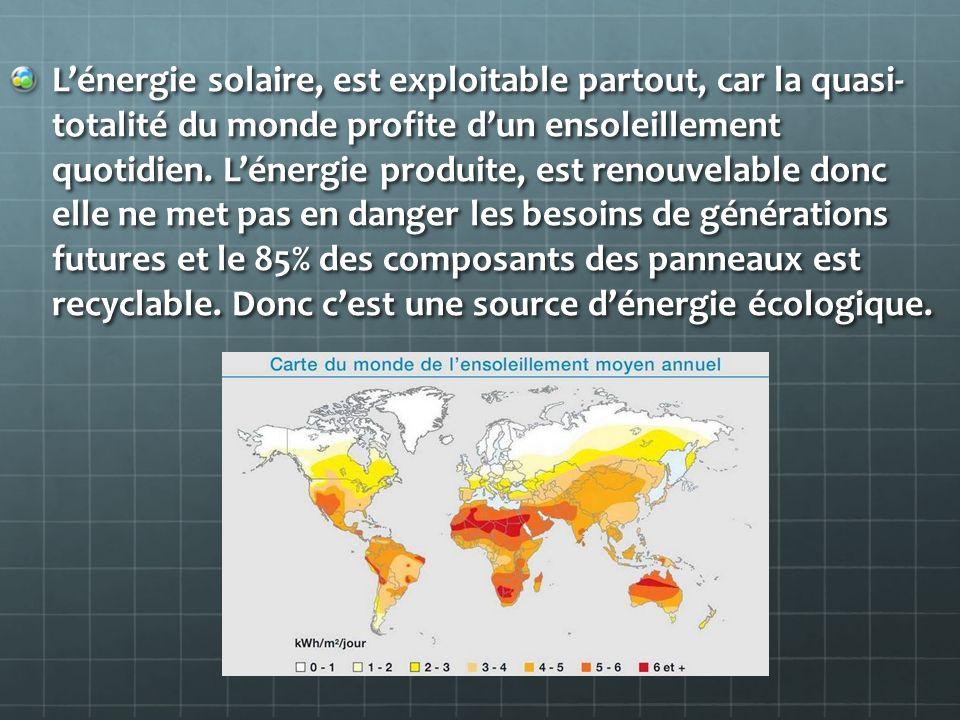 Lénergie solaire, est exploitable partout, car la quasi- totalité du monde profite dun ensoleillement quotidien. Lénergie produite, est renouvelable d