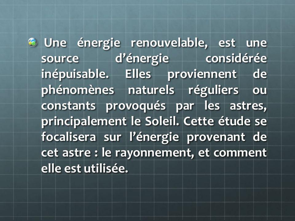 Une énergie renouvelable, est une source dénergie considérée inépuisable. Elles proviennent de phénomènes naturels réguliers ou constants provoqués pa