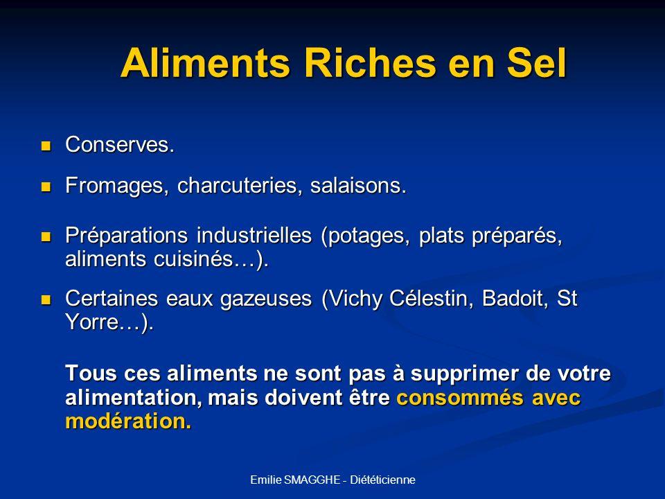 Emilie SMAGGHE - Diététicienne Aliments Riches en Sel Aliments Riches en Sel Conserves. Conserves. Fromages, charcuteries, salaisons. Fromages, charcu