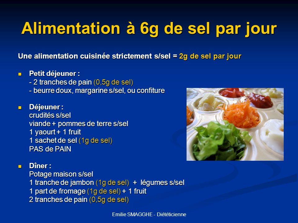 Emilie SMAGGHE - Diététicienne Alimentation à 6g de sel par jour Une alimentation cuisinée strictement s/sel = 2g de sel par jour Petit déjeuner : Pet