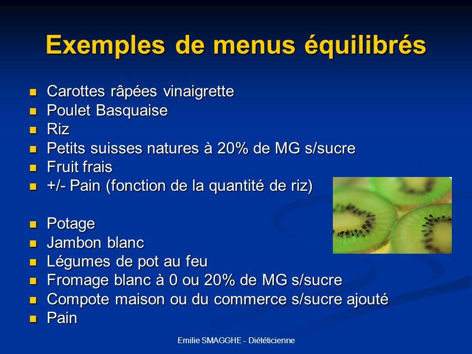 Emilie SMAGGHE - Diététicienne Exemples de menus équilibrés Carottes râpées vinaigrette Carottes râpées vinaigrette Poulet Basquaise Poulet Basquaise