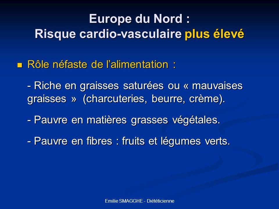 Emilie SMAGGHE - Diététicienne Europe du Nord : Risque cardio-vasculaire plus élevé Rôle néfaste de lalimentation : Rôle néfaste de lalimentation : -