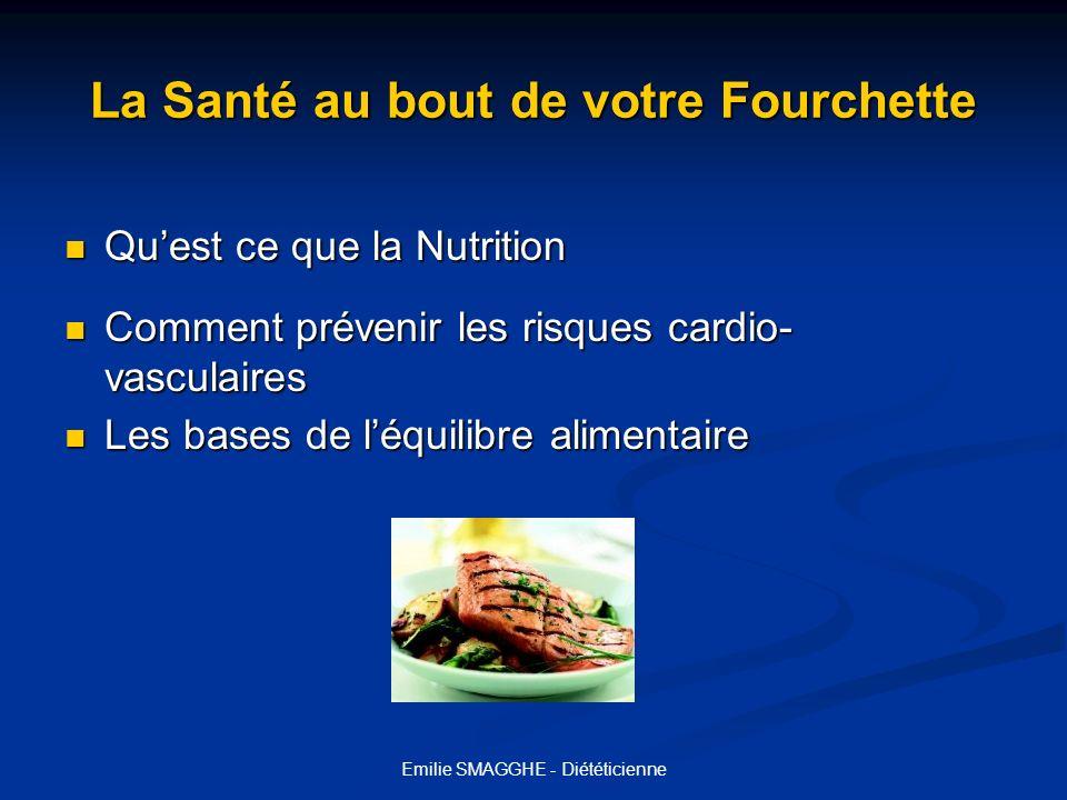 Emilie SMAGGHE - Diététicienne Quest-ce que la Nutrition Quest-ce que la Nutrition La nutrition se définit comme étant la science qui analyse les rapports entre lalimentation et la santé.